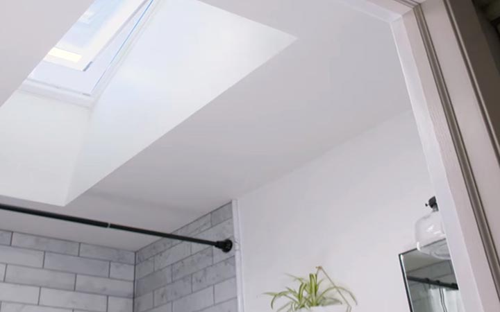 Skylight with white grey surround