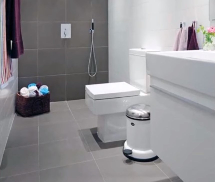 Tone the bathroom grey with heated floors